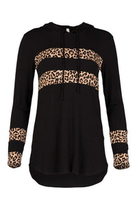 Black Small Stripe Leopard Thin Hoodie