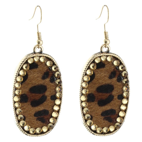 Leopard Rhinestone Hair On Hide Earring