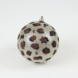 "5"" Glitter Leopard Ball Ornament"