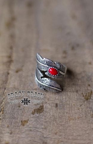 Red Wild Feather Ring