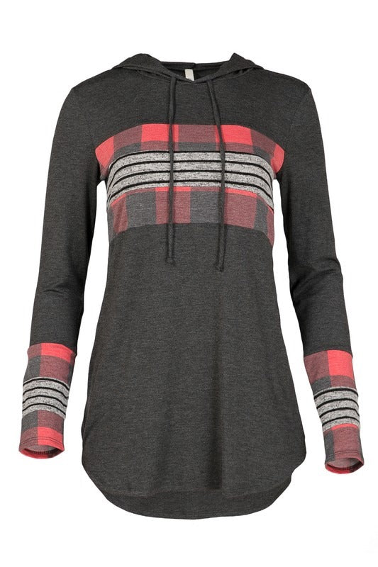 Grey Plaid Thin Hoodie