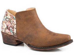 Floral Faux Leather ROPER Bootie