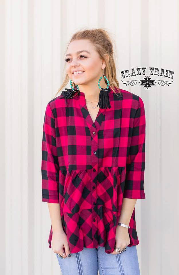 Penny Plaid Ruffle Top