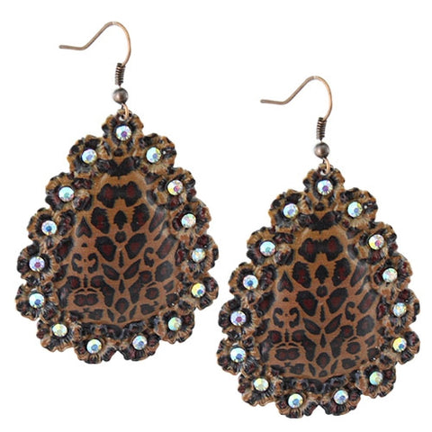 Leopard Scalloped Rhinestone Earrings