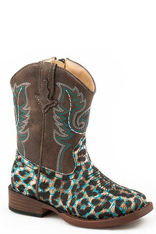 ROPER TODDLER GIRLS' LEOPARD GLITTER WESTERN BOOTS - SQUARE TOE