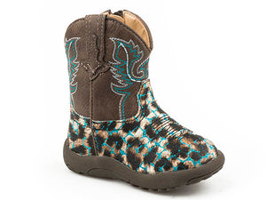Infant Roper Cowbaby Blue Glitter Leopard Boots