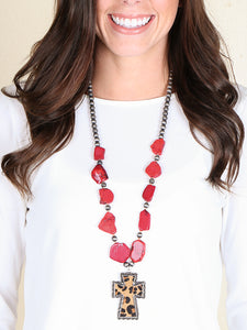 Red Stone Leopard Cross Necklace