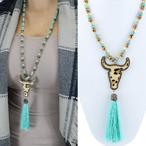 Turquoise Steer Leopard Tassel Necklace