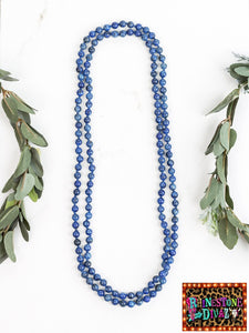"60"" Blue Jasper Bead Necklace"