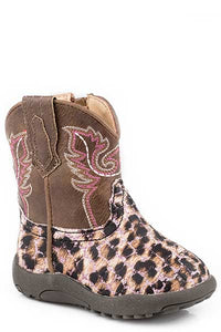 Infant Roper Cowbaby Pink Glitter Leopard Boots