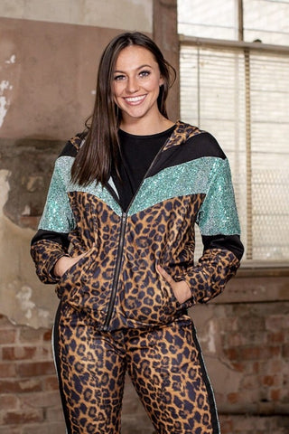 Sequin Leopard Wind Suit JACKET