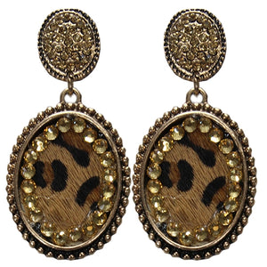 Leopard Hair On Hide Post Earrings