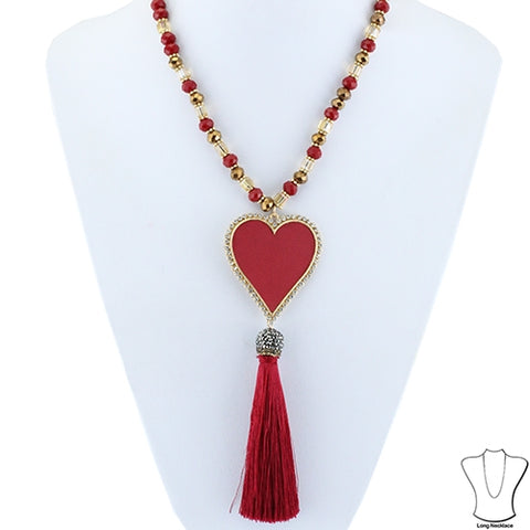 Red Heart Tassel Necklace