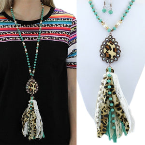 Turquoise Leopard Tassel Bead Necklace