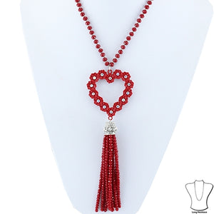 Red Bead Tassel Necklace
