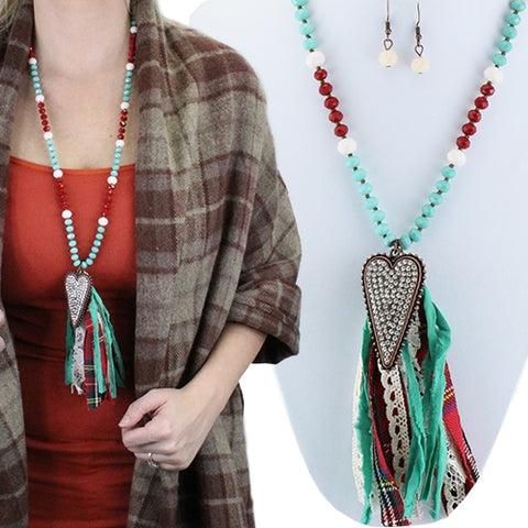 Red/Turquoise Heart Tassel Necklace
