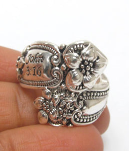 Adjustable John 3:16 Spoon Ring