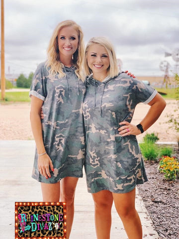 Camo Tshirt Hooded Dress