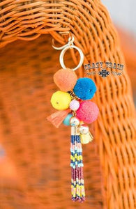 Horse Of Different Color Pomp/Bead Keychain
