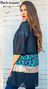 Black Sheer Pink/Teal Leopard Color Block Sequin Cardigan