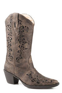Metallic Underlay Brown Leather ROPER Boot