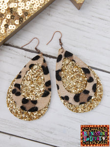 Gold Glitter Leopard Double Layer Earrings