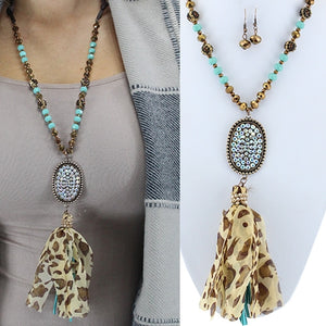 Turquoise/Brown Tassel Rhinestone Necklace