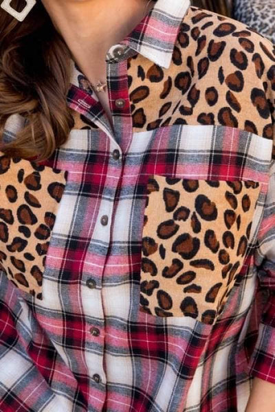 Leopard Main Plaid Top