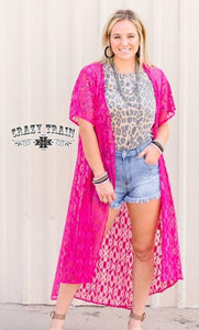 Hot Pink Albuquerque Aztec Lace Duster