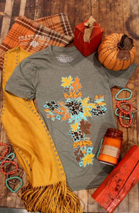Fall Leaf Cross Tee