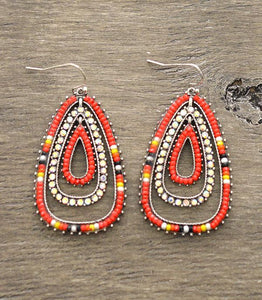 Orange Beaded Tiered Earrings