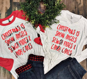 Red Sleeve Christmas List Raglan