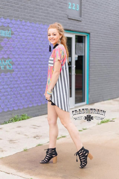 Long Stripe Back Aztec Tunic