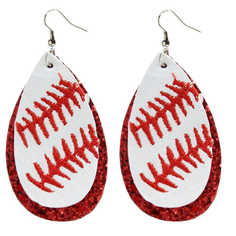 Red Glitter Baseball Earrings