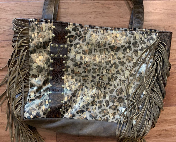 *PREORDER*Stella Leopard Acid Wash Upcycled Bag