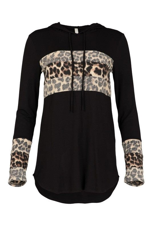 Thin Stripe Leopard Faded Thin Hoodie
