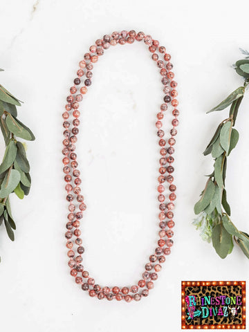 "60"" Muted Orange Jasper Bead Necklace"
