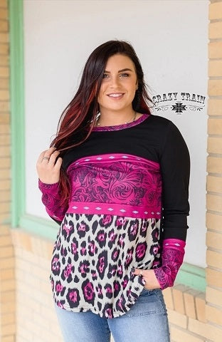 Hot Pink Tooled Top