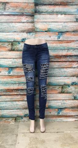 650 Black Rose Lace Insert Jeans