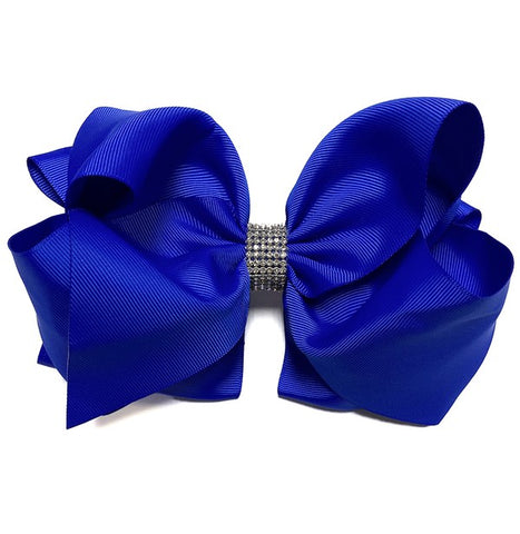 Royal Blue Double Layer Rhinestone Bow
