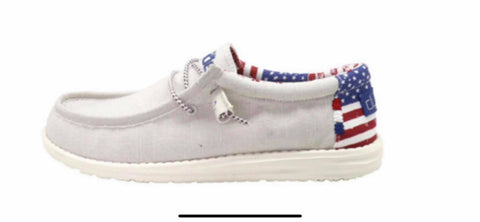 MEN'S Off White Patriotic Hey Dude