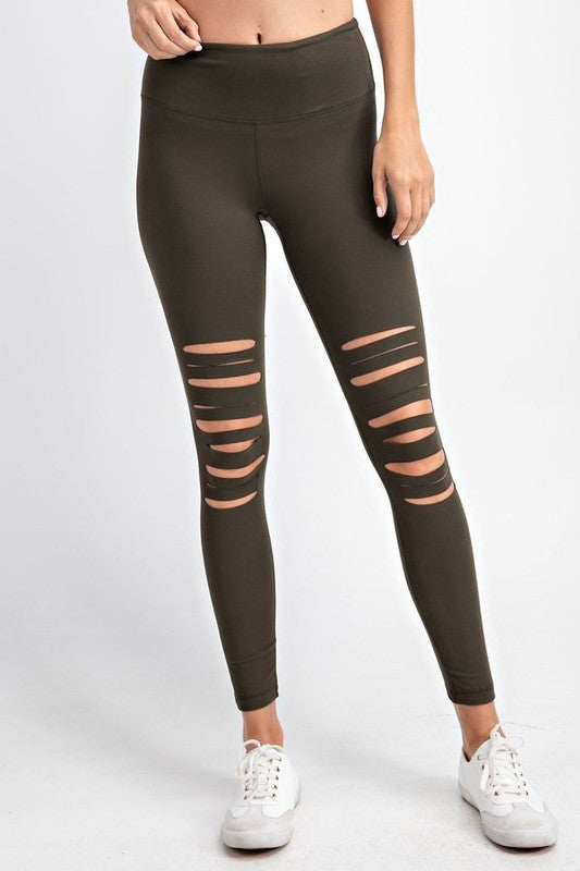 Olive Split Leggings