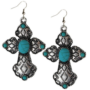 Turquoise & Silver Cross Earrings