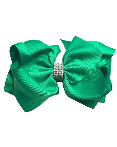 Christmas Green Double Layer Rhinestone Bow