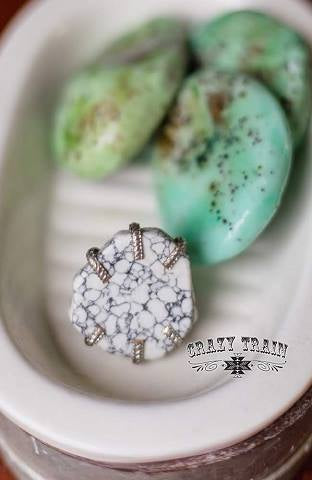 White Stone Slab Ring