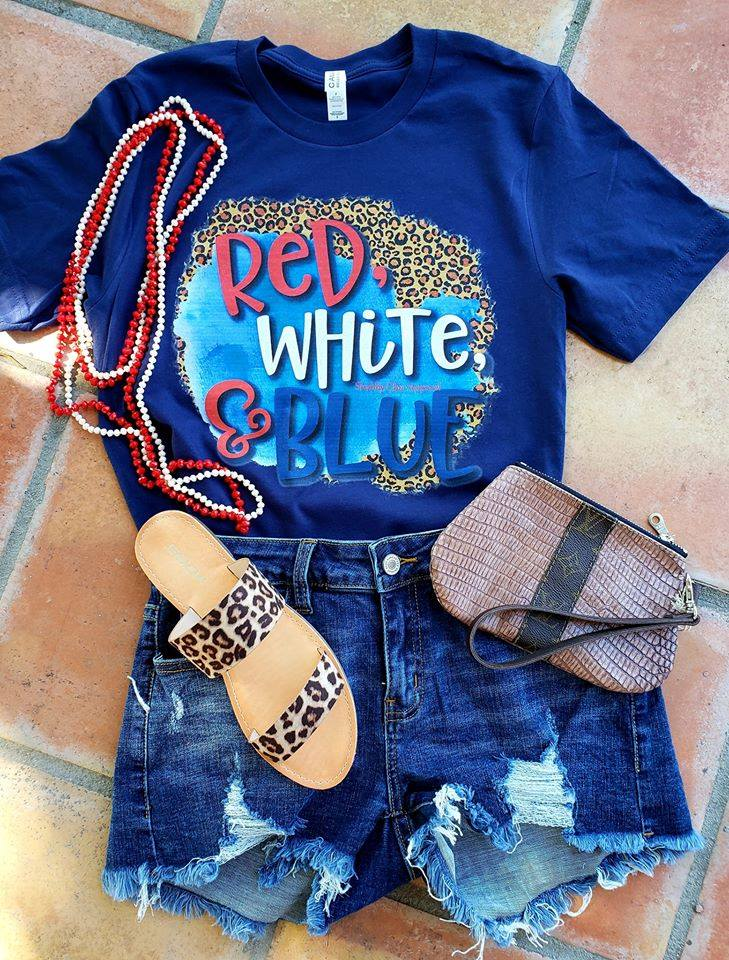 Red White Blue & Leopard Tee