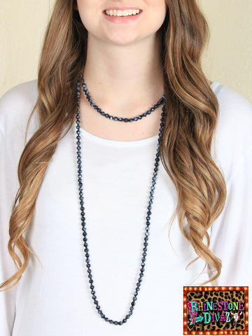 "60"" Black Bead Necklace"