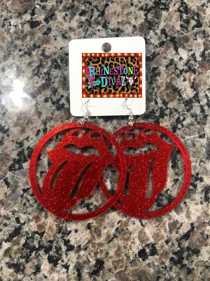 Red Glitter Tounge Acrylic Earrings