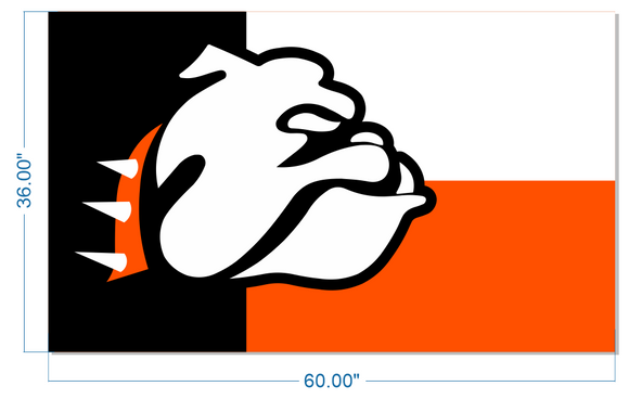 Bulldog Flag - Orange, White Black TX Style