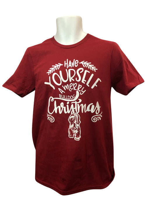 Merry Bulldog Christmas Tee